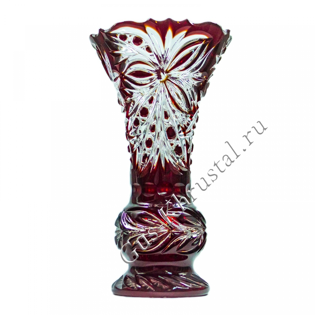 Ваза Хрустальная Для Цветов Тюльпан Малый рубиновый